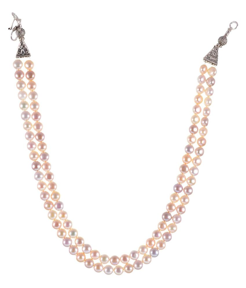 GEMS TREASURE Multi shaded pearl Button 2 Line Necklace