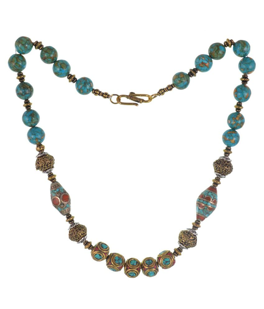 GEMS TREASURE Semi Precious Tourquise howlite tibetian Necklace