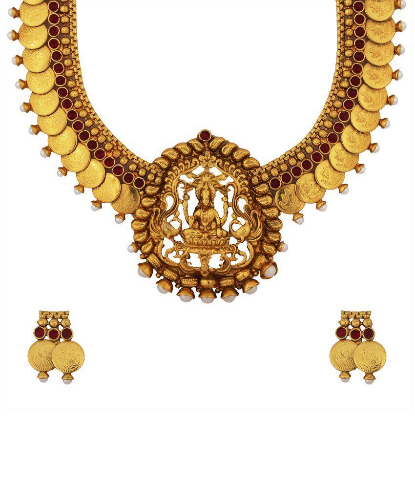 Sthrielite & Kushi Red & Golden Alloy Bridal Necklace Set