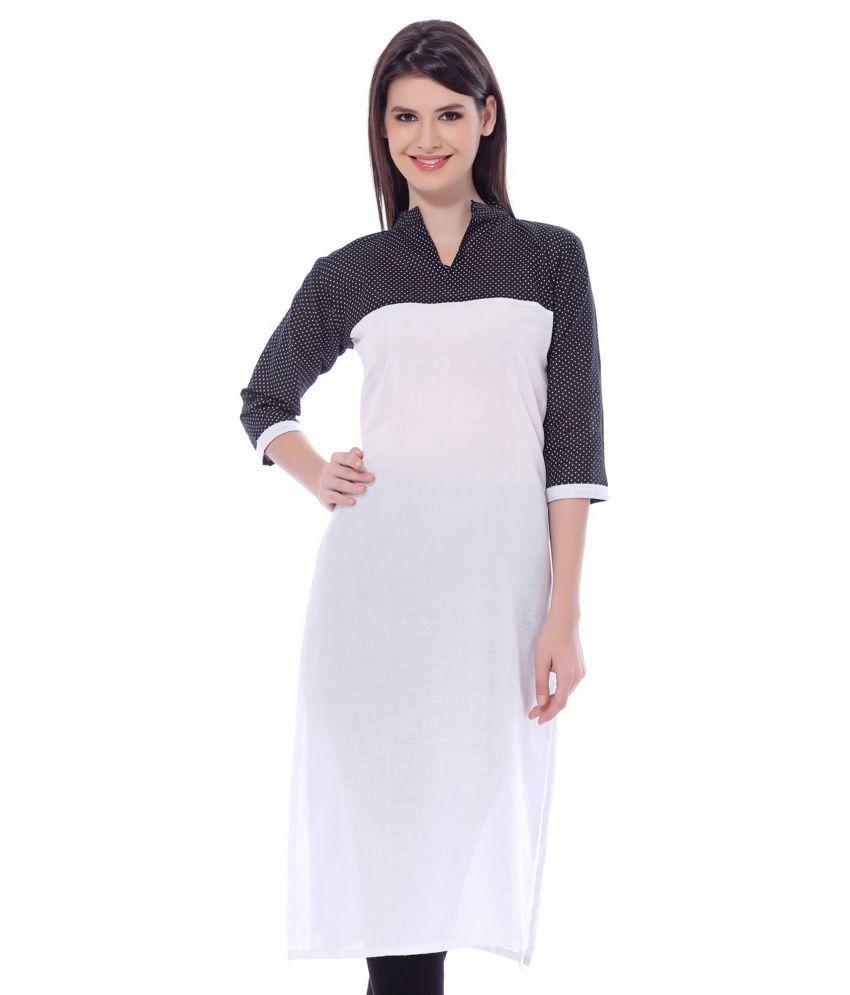 Illahi White And Black Cotton Kurti