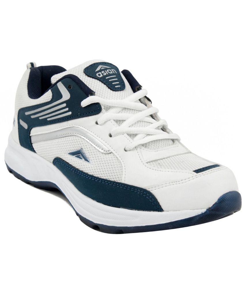 Asian White Mesh Textile Sport Shoes