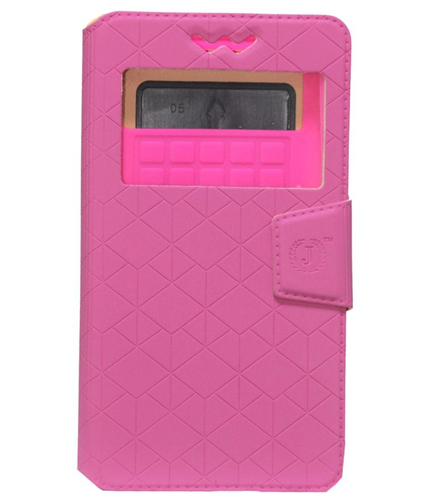 Jo Jo Flip Cover With Silicon Holder For Alcatel Pop 2 (4.5)-Pink