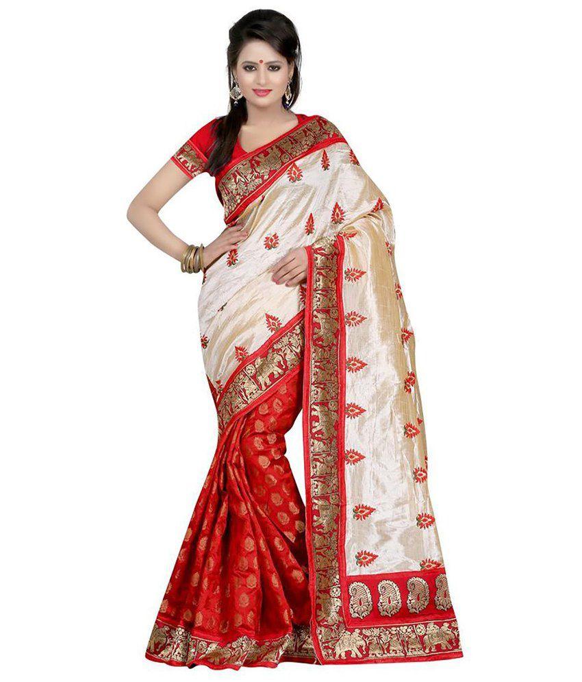 Surat Tex Beige & Red Bhagalpuri Silk Saree