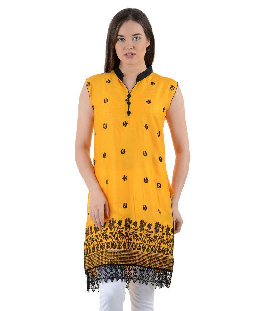 By-maaa Yellow Cotton Silk Kurti