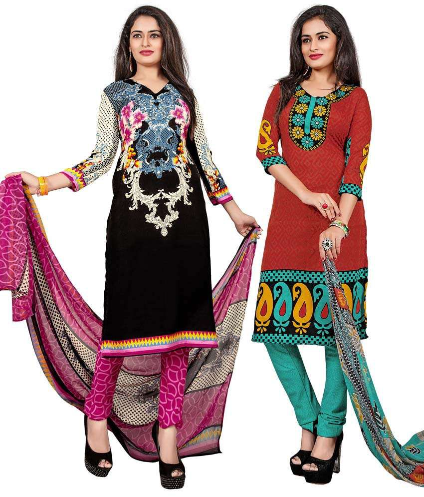Khushali Black And Red Art Crepe Unstitched Dress Material