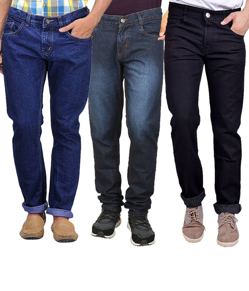 Masterly Weft Multicolour Regular Fit Jeans - Pack Of 3