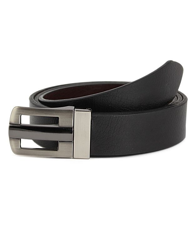 Snowfinch Black And Brown Leather Formal Reversible Belt For Men