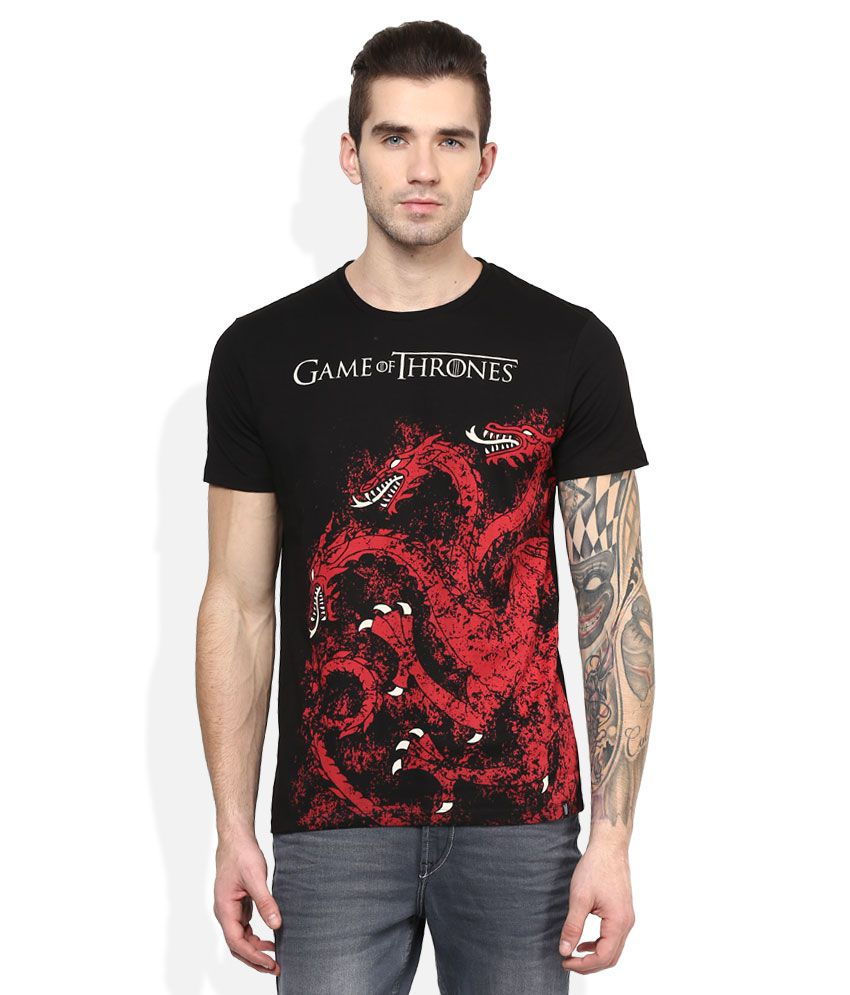 Game Of Thrones Black Printed T-Shirt