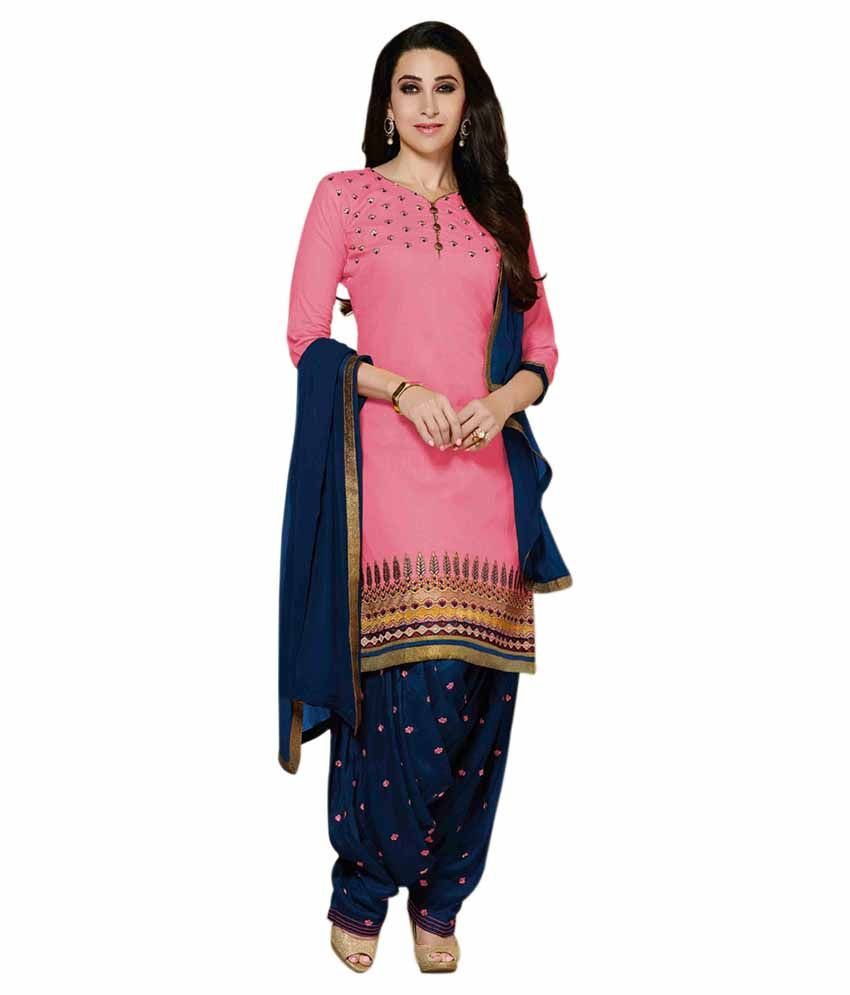 796a022cbc Styles Closet Blue and Pink Cotton Semi Stitched Dress Material - Buy  Styles Closet Blue and Pink Cotton Semi Stitched Dress Material Online at Best  Prices ...