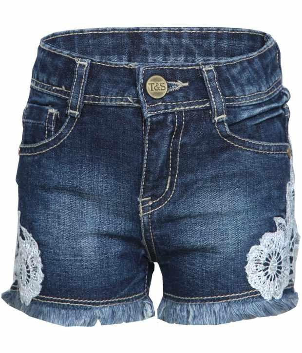 Tales & Stories Blue & White Denim Shorts