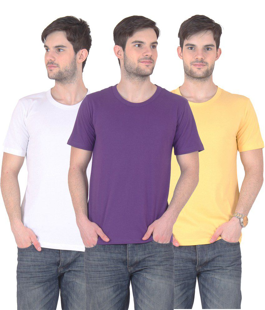 Fnme Multicolor Cotton Blend T-shirt - Pack Of 3