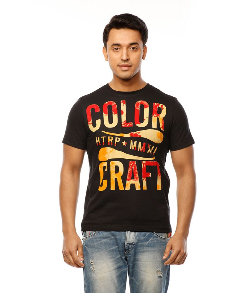 Huetrap Black Cotton Color Craft Casual T-shirt