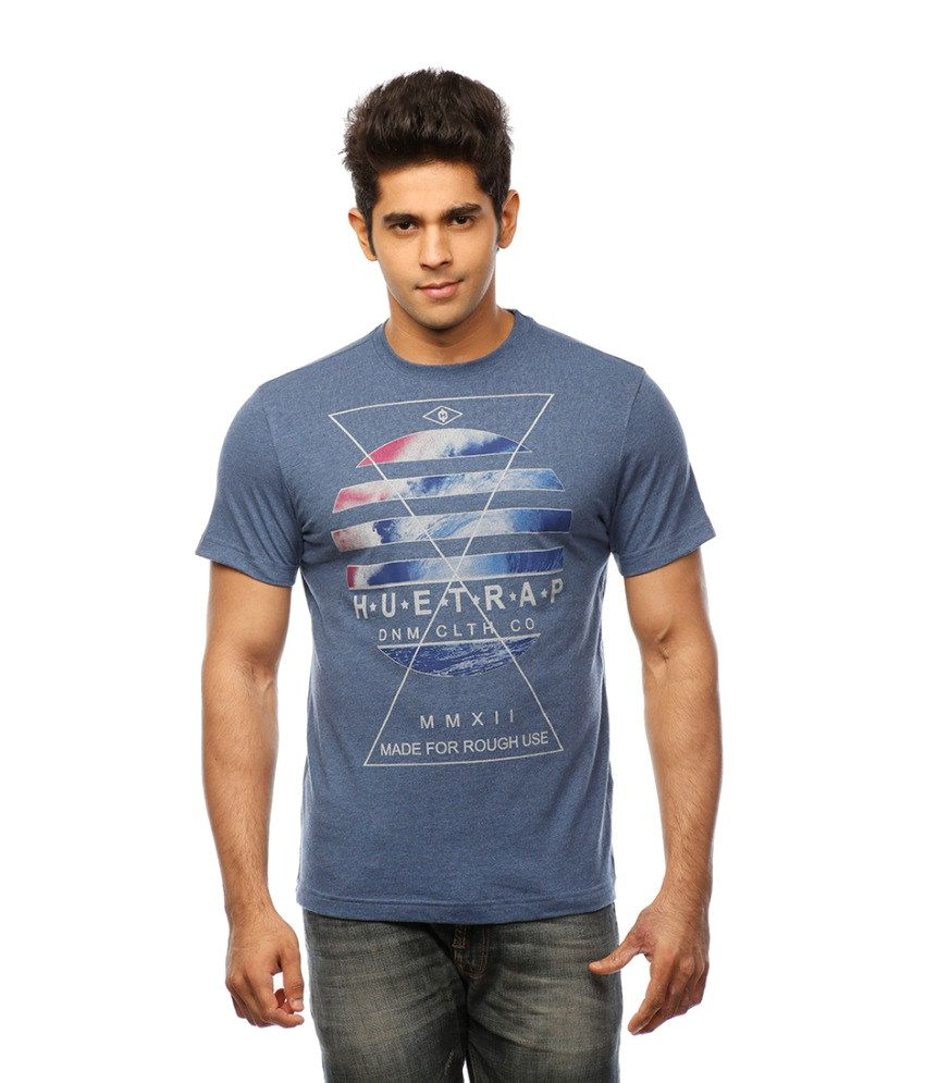Huetrap Blue Cotton In The Realm Casual T-shirt