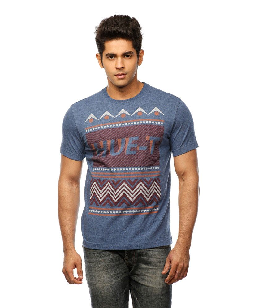 Huetrap Blue Cotton Patterned Tribal Print Casual Print T-shirt