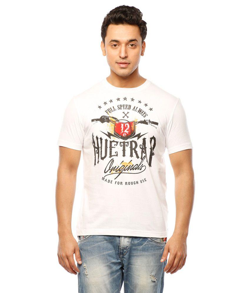 Huetrap White Cotton Biker Cool Casual T-shirt