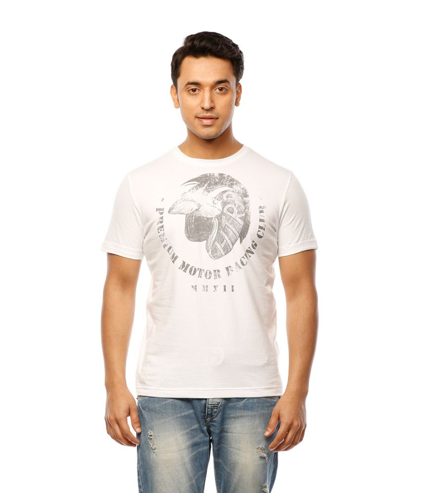 Huetrap White Cotton Premium Motor Racing Casual T-shirt