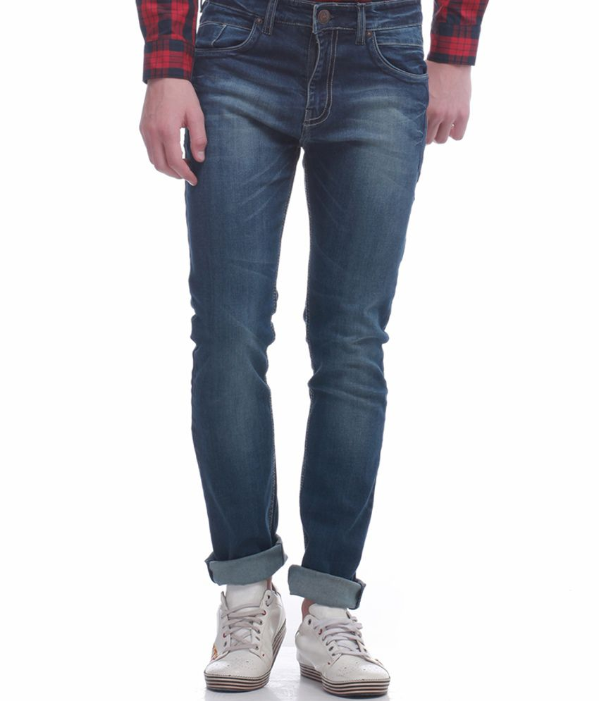 Jogur Blue Cotton Blend Jeans