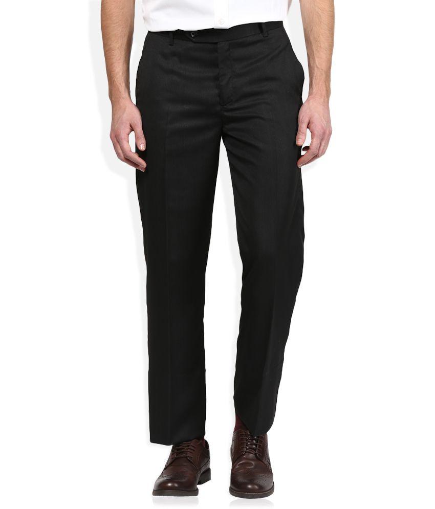 John Players Black Regular Fit Pleated Trousers