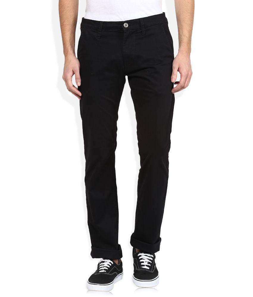 Lee Black Slim Fit Casual Trousers