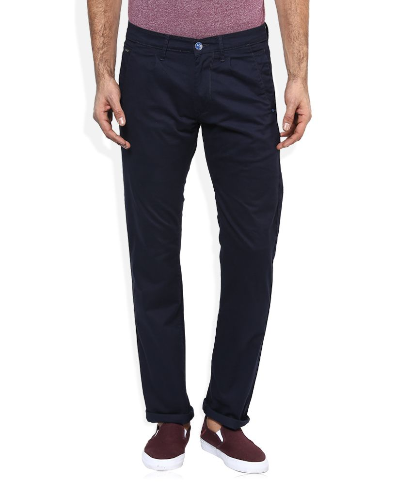 Lee Navy Slim Fit Casual Trousers