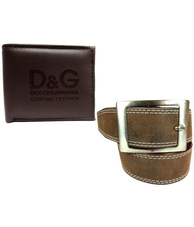 Apki Needs Brown Casual Belt With Wallet For Men
