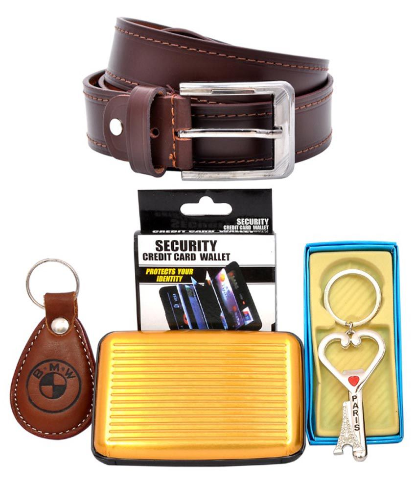 King & Queen Combo Of Brown Leather Belt, Card Holder And Keychain