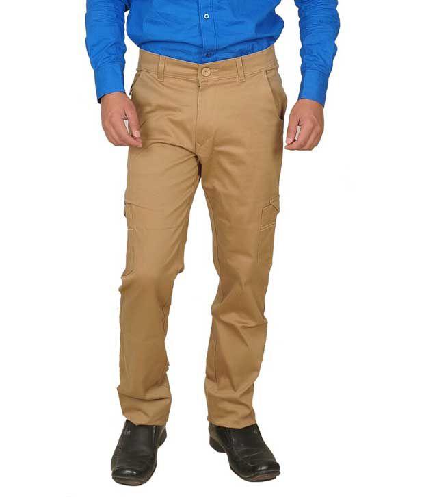 Livish Khaki Slim Fit Casual Cargo Trouser