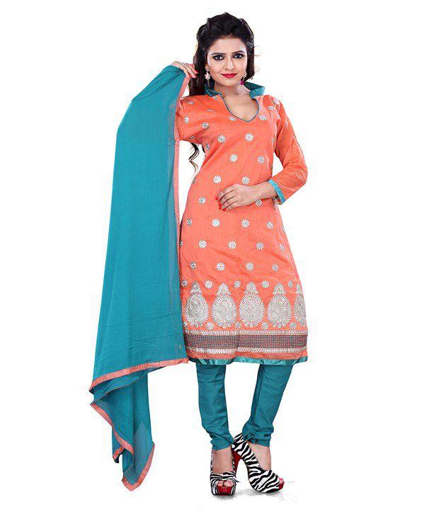 Surat Tex Orange Chanderi Unstitched Dress Material