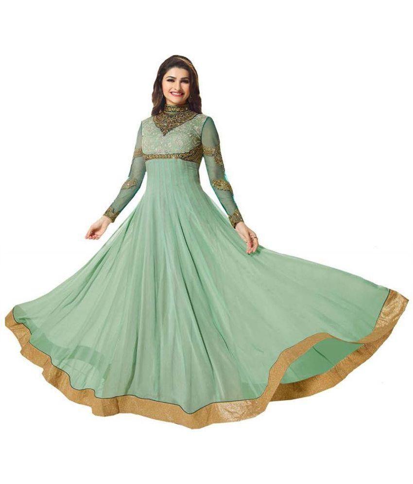 Orange Fab Green Georgette Semi Stitched Dress Material