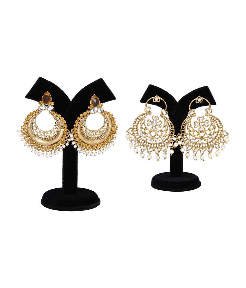 Veshmoda Golden Brass Chandeliers (Pack of 2)