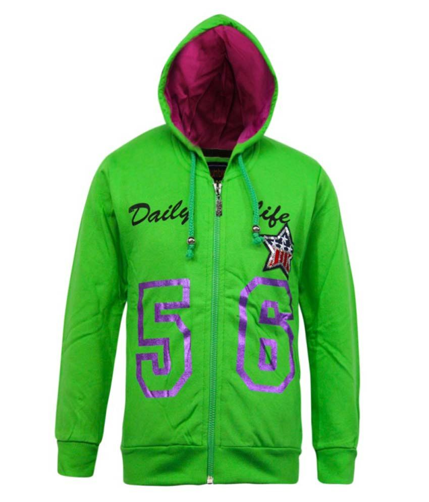 Kothari Green Fleece Hooded Sweatshirt