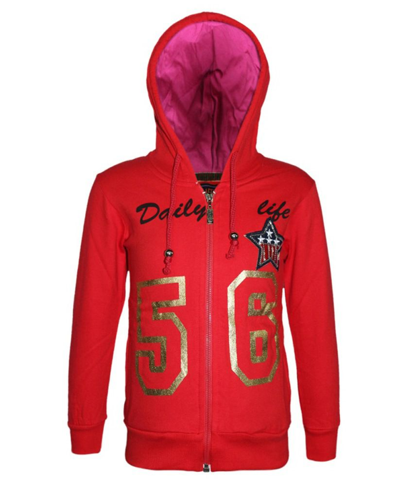 Kothari Red Fleece Sweatshirt With Hood