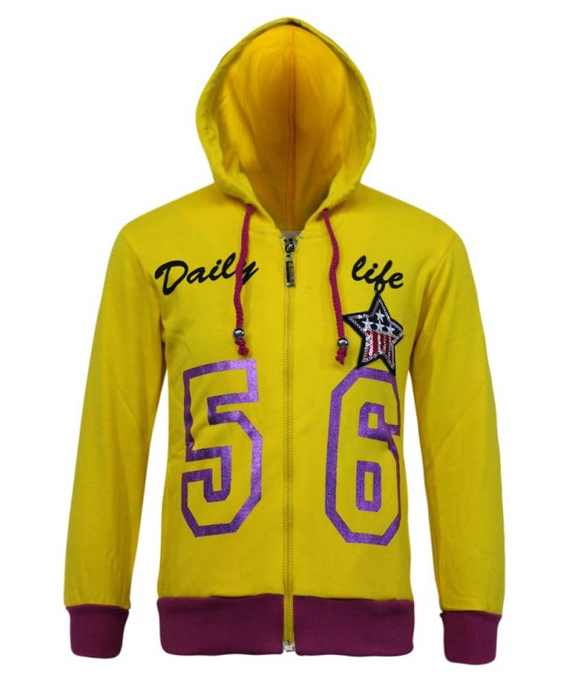 Kothari Yellow Fleece Hooded Sweatshirt