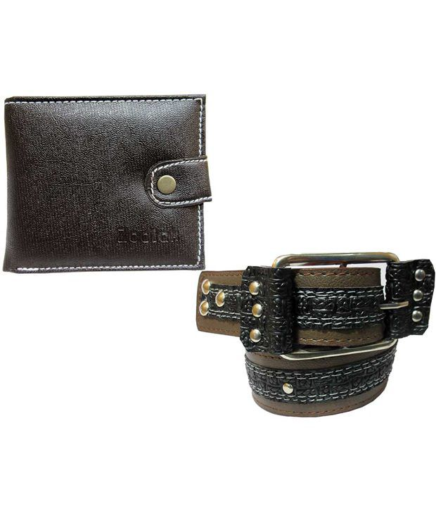 Apki Needs Combo Of Black Casual Belt With Wallet For Men
