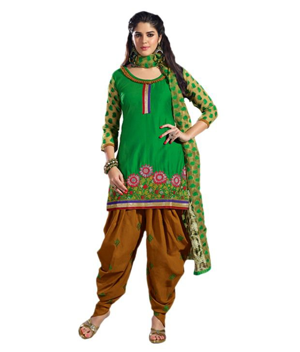 Indian Wear Online Green Cotton Unstitched Dress Material