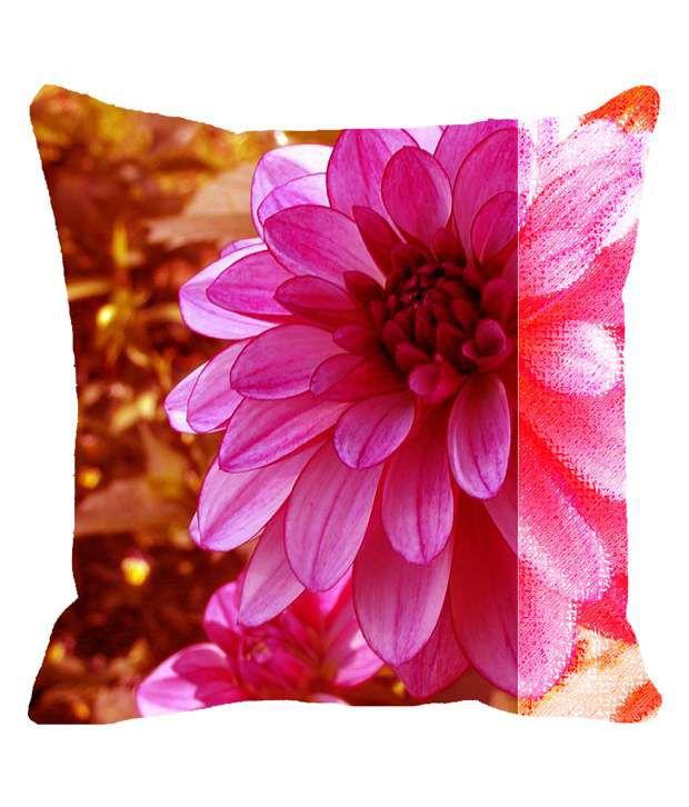 Leaf Designs Multi-colour Printed Poly Taffeta Cushion Cover