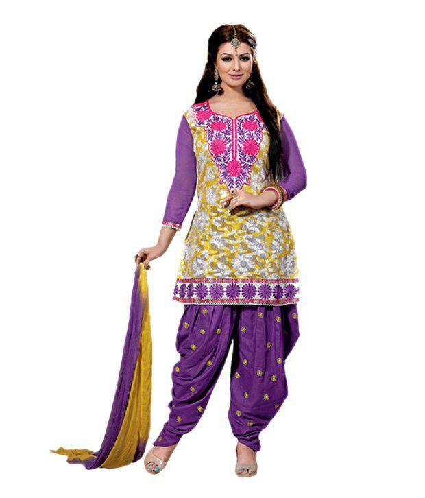 Party Wear Dresses Multi Color Cotton Unstitched Dress Material