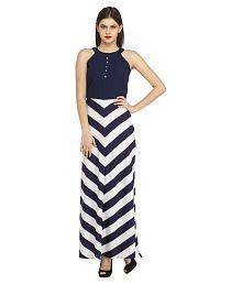 Cottinfab Navy Polyester Maxi Dress
