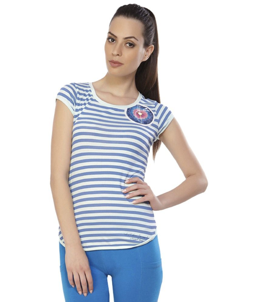 Douspeakgreen Blue & White Vishuddha Chakra Yoga Top