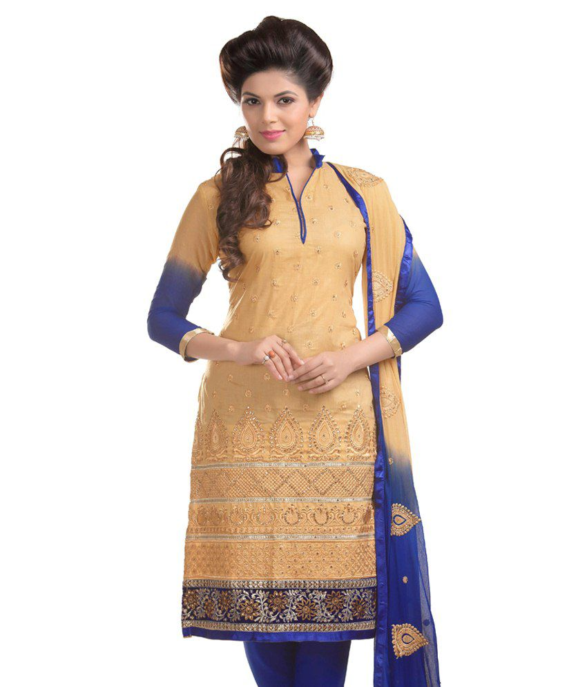 Amar Creation Yellow Cotton Unstitched Dress Material