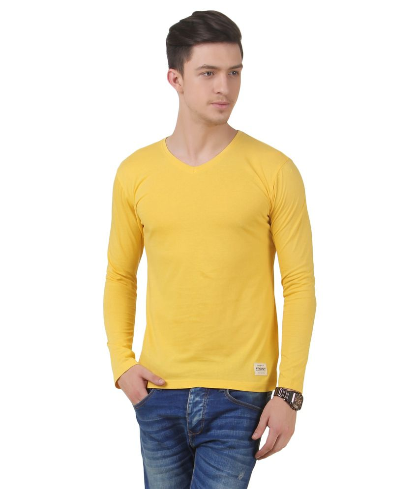 Frost Yellow Cotton Blended T-shirt