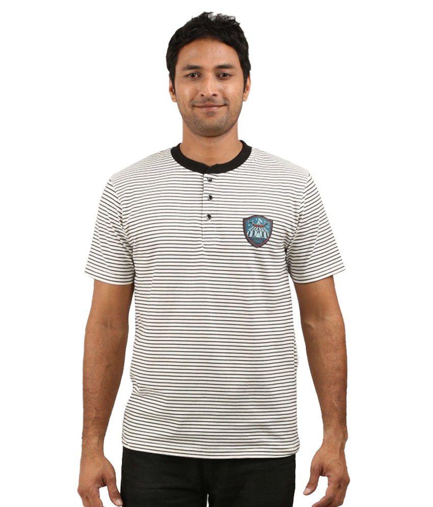 Gallop Striped Henley T Shirt