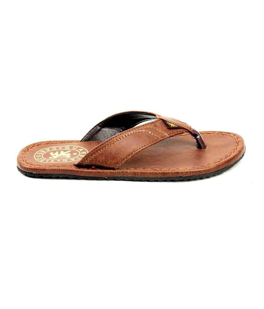 a0502e22d799cf Guardian Dark Brown Leather Flip Flops For Men Price in India- Buy ...
