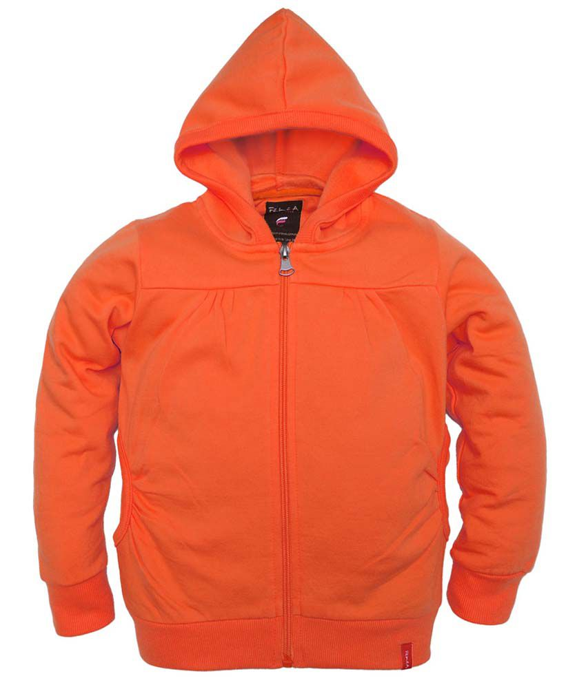 Femea Orange Full Sleeve Fleece Sweatshirt