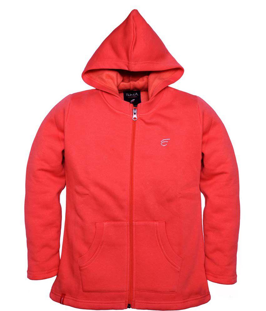 Femea Red Full Sleeve Fleece Sweatshirt