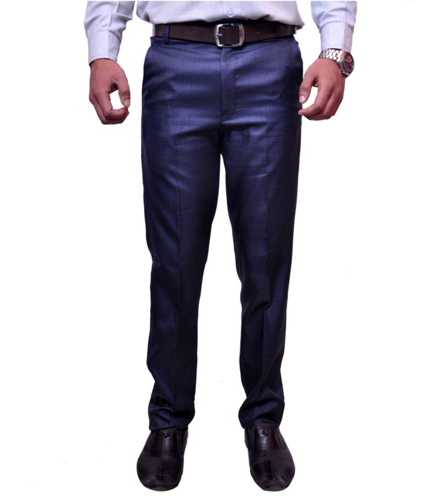 Black Molly Blue Slim Fit Formals Flat Trousers