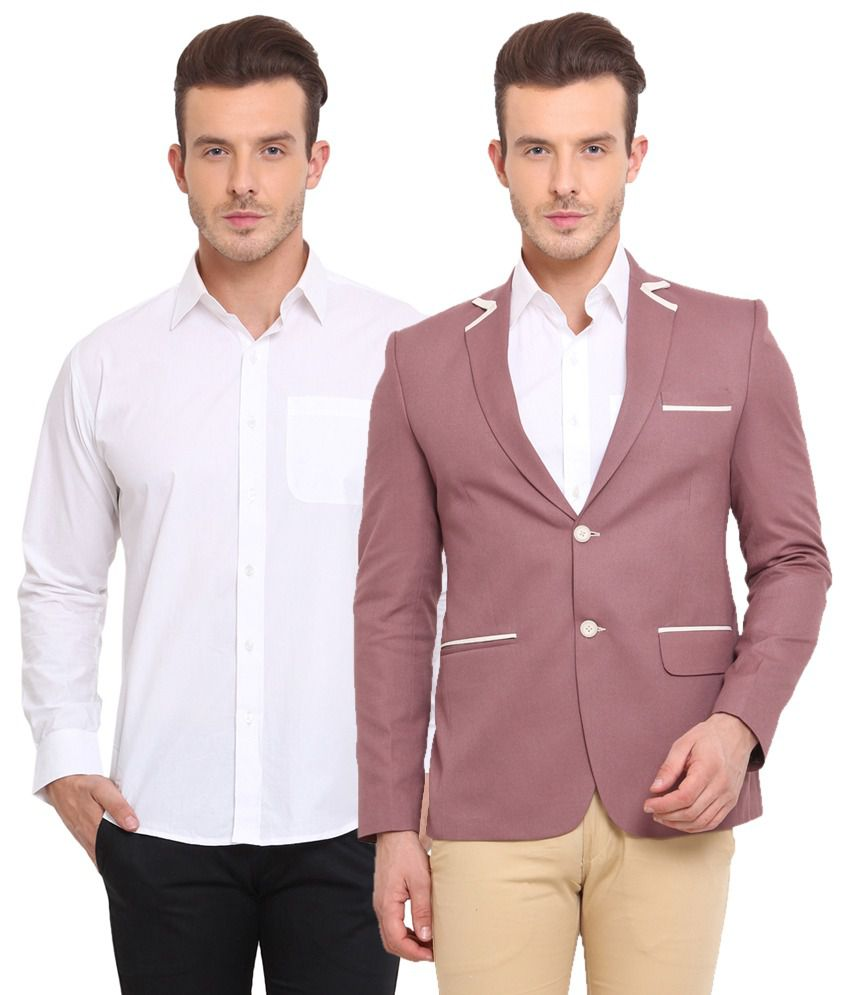 Ennoble Dark Onion & White Poly Viscose Blazer & Shirt Combo (Pack Of 2)