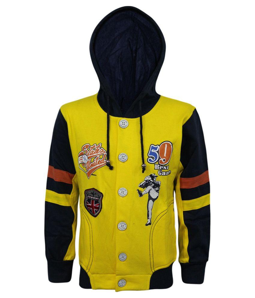 Kothari Yellow And Blue Fleece Printed Sweatshirt With Hood