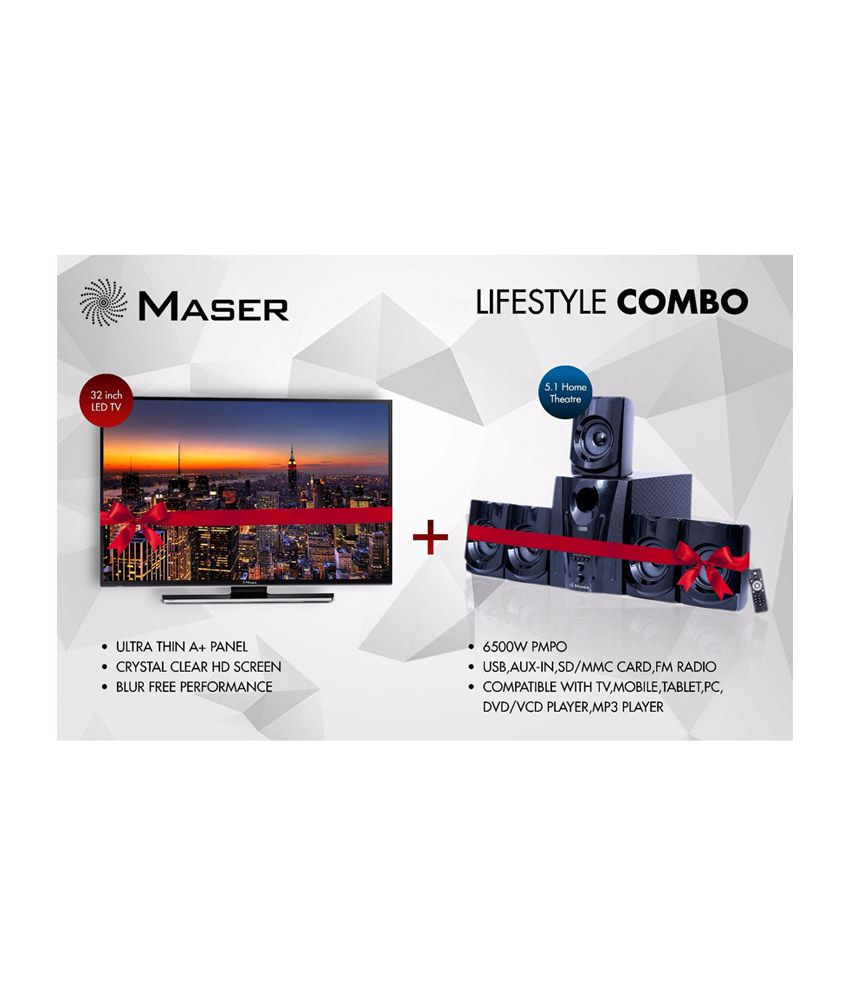 Maser Combo of 315CIN 81 cm (32) HD Ready LED Television with HT-600AUF 5.1 Home Theatre