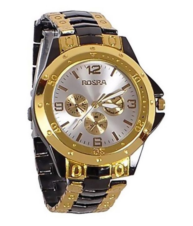 Rosra golden steel analogue watch buy rosra golden steel analogue watch online at best prices for Rosra watches